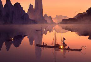 Обои Девочка, лодка, огни, река, рыбалка, птицы, горы