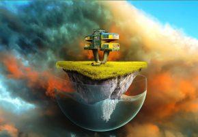 Обои рисунок, небо, гора, шар, остров, дом, трава