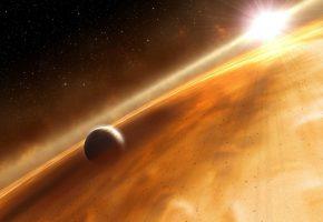 Обои планета, вселенная, солнце, свет, туманность