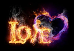 Обои надпись, love, любовь, сердце, огонь