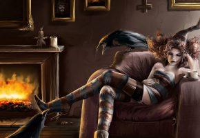Обои девушка, кресло, вороны, камин, чулки, арт