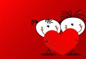 Обои человечки, сердца, День влюбленных, девочка, мальчик