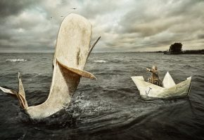 Обои artwork, creative, fantasy, кораблик, рыба, океан, волны