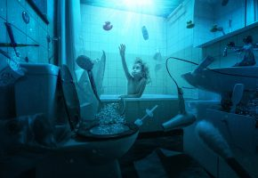 Обои девочка, ребенок, ванная, потоп, унитаз, фен