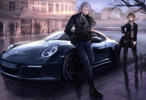 Обои девушка, парень, машина, porsche, оружие, пистолет, автомат