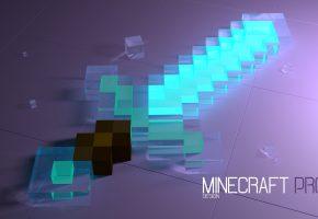 Обои Minecraft, меч, кристалы, кубики