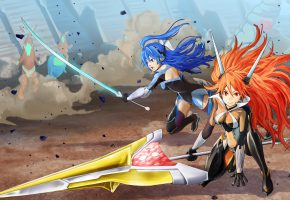 Обои девушка, волосы, меч, наушники, битва