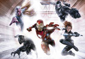 Обои Первый мститель, Противостояние, Captain America: Civil War, комикс, фантастика, супергерои, Iron Man, Vision, Black Widow, Скарлетт Йоханссон