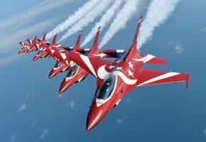 Обои Чёрные Рыцари, пилотажная, группа, F-16, Fighting Falcon, полёт, строй