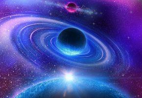 Обои planet, colors, energy, blue, планета, звезды, вихрь
