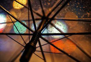 Обои макро, зонт, прозрачный, дождь, огни, спицы