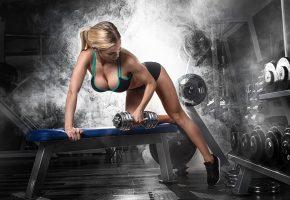 Обои fitness, dumbbell, gym, девушка, фитнес, гантели, фигура