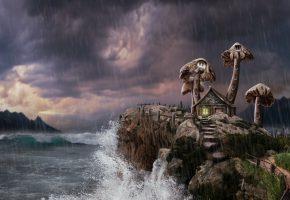 Обои море, домик, небо, брызги, грибы, ступеньки