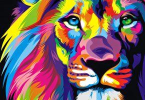 Обои Лев, Взгляд, текстуры