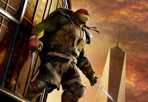 Обои Черепашки-ниндзя 2, Teenage Mutant, Ninja Turtles, Out of the Shadows, фэнтези, Raphael, повязка, красная, оружие, ножи, трезубцы