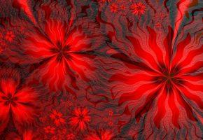 Обои фрактал, 3d, узор, красный, линии