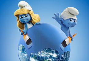 Обои Smurfs 3, the Lost Village, film, cinema, movie, гномы, краска, голубой