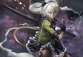 Обои touhou, арт, девушка, меч