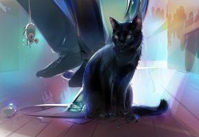 Обои арт, аниме, ситуация, кафе, кот, мышка