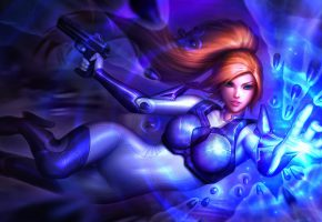 Обои StarCraft, art, девушка, пули, пистолеты, костюм, волосы