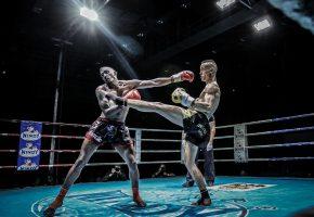Обои тайский бокс, бойцы, атака, удар, прием, ринг, судья