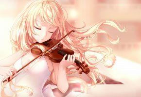 Обои арт, аниме, девушка, скрипка, волосы