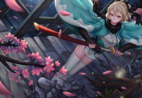 Обои девушка, катана, дом, сакура, ветка, меч