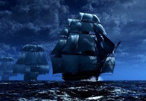 Обои эскадра, боевые корабли, армада, фрегаты