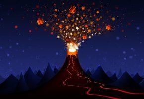 Обои Вулкан, подарки, праздник, лава, горы, ночь