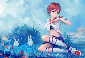 Обои арт, девушка, взгляд, синие глаза, стрижка, природа, бабочка