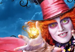 Обои Alice Through the Looking Glass, Johnny Depp, Mad Hatter, Adventure, Алиса, джокер, облака, магия