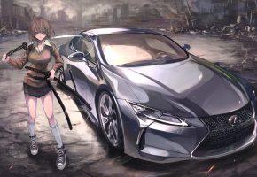 Обои девушка, мечи, машина, арт, город, разруха