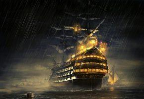 Обои парусник, галеон, орудия, порты, корабль, вечер, дождь