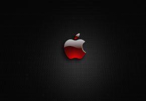 Обои Apple, яблоко, фон, серый