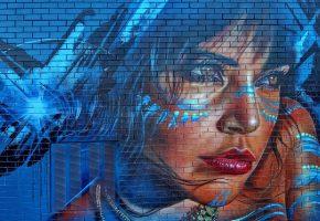 Обои стена, граффити, рисунок, девушка