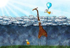 Обои жираф, облака, дети, шар, дождь, солнце