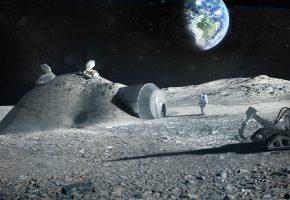 Обои космос, земля, луна, космонавты, дом, станция, база, землянка