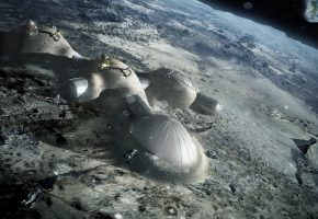 Обои Луна, Земля, Космос, дом, спутник, планета, экскаватор, люди