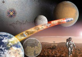 Обои Космос, Земля, Луна, Марс, планета, поверхность, спутник, космонавты, человек, карта, звёзды, наука, техника, ЕКА, ESA, заря, горизонт, полёт