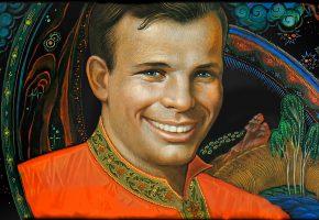 Обои Юрий, Гагарин, космонавт, лётчик, легенда, герой, улыбка, картина, космос