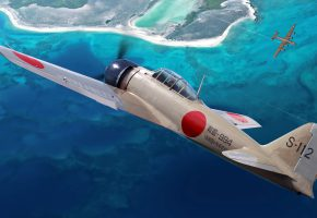 Обои A6M, Zero, истребитель, японский лёгкий палубный истребитель, флот, Япония, рисунок, арт