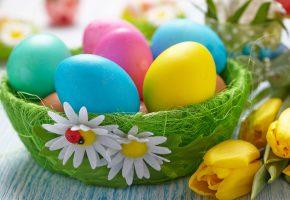 Обои пасха, яйца, цветы, корзинка