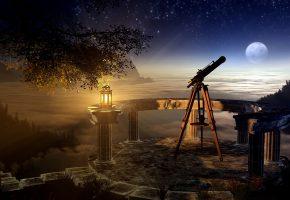 Обои ветвь, дерево, ночь, лампа, телескоп, небо, трава, звёзды, залив, луна