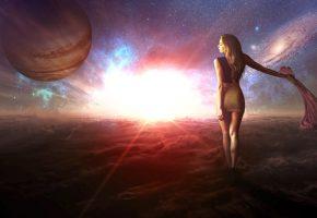 Обои космос, планеты, звёзды девушка