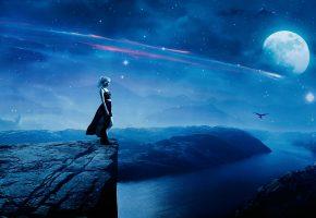 Обои космос, обрыв, скала, девушка, ночь, луна, звёзды, горы, птица, река