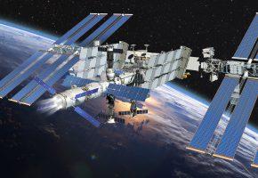 Обои МКС, Земля, космос, наука, техника, орбитальная, станция, облока, горизонт, полёт, звёзды, графика