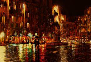 Обои Брусчатка, Дождь, Зонты, Кафе, Отражение, Статуя, Флоренция