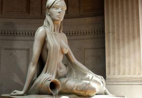 Обои статуя, богиня воды, кувшин, девушка