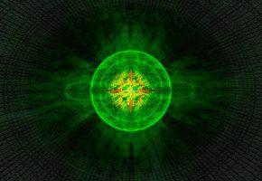 Обои фрактал, узор, свет, туннель, фон, зеленый