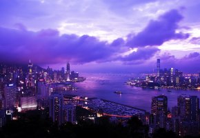 Обои hong kong, china, city, гонг конг, Китай, вечер, небо, огни